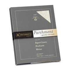 "Southworth Parchment Cover Stock - Letter - 8.50"" x 11"" - 65 lb Basis Weight - Parchment - 100 / Box - Ivory"