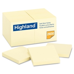 "Highland Highland Notes, 3 in x 3 in, Yellow - 2400 - 3"" x 3"" - Square - 100 Sheets per Pad - Unruled - Yellow - Paper - Removable - 24 Pad"