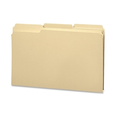 """100% Recycled Folders with Reinforced Tab - 3/4"""" Folder Capacity - Legal - 8 1/2"""" x 14"""" Sheet Size - 1/3 Tab Cut - Assorted Position Tab Location - 11 pt. Folder Thickness - Manila - Manila - Re"""