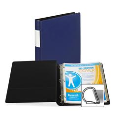 "Samsill Contour Cover D-Ring Reference Binder - 1"" Binder Capacity - Letter - 8 1/2"" x 11"" Sheet Size - 225 Sheet Capacity - 3 x D-Ring Fastener(s) - 1 Inside Front Pocket(s) - Vinyl - Navy - Recycled"