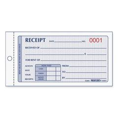 "Rent Receipt Manifold Book - 50 Sheet(s) - 2 Part - Carbonless Copy - 2.75"" x 5"" Sheet Size - Red Print Color - 1 Each"