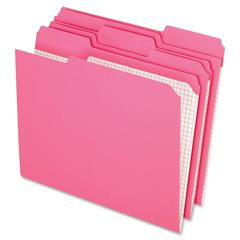 "Pendaflex 2-Ply Top Tab File Folder - Letter - 8 1/2"" x 11"" Sheet Size - 1/3 Tab Cut - Top Tab Location - 11 pt. Folder Thickness - Pink - 100 / Box"