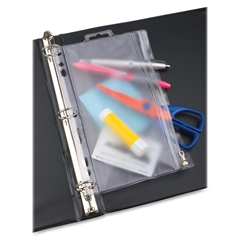 "Zipper Binder Pocket - 10.50"" x 8"" Sheet - Ring Binder - Rectangular - Clear, White - Poly - 1 Each"