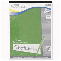 "Academie Sketch Pad - 50 Sheets - Plain - 50 lb Basis Weight - 9"" x 12"" - White Paper - 1Each"