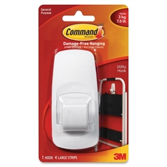 Command Jumbo Hook with Adhesive - 7.50 lb (3.40 kg) Capacity - White - 1 Pack