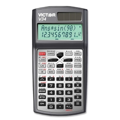 "V34 Advanced Scientific Calculator - 280 Functions - 2 Line(s) - 10 Digits - Battery/Solar Powered - Button Cell - 0.8"" x 3.3"" x 6.3"" - Black - 1 Each"