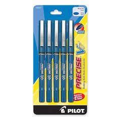 PRECISE V7 Rollerball Pen - Fine Point Type - 0.7 mm Point Size - Blue Gel-based Ink - Blue Barrel - 5 / Pack
