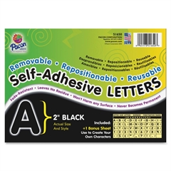 "Self-Adhesive Removable Letters - 159 Character - Self-adhesive - 2"" Height - Black - 159 / Pack"