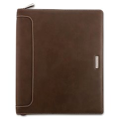 "Day Runner Harrison Planner - 1 Year - 8.50"" x 11"" - 3-ring - Zippered Closure - Brown - Card Slot, Business Card Holder, Pen Loop, Pocket, Notepad, Phone Directory, Pouch"