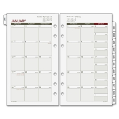 """Day Runner Express Planning Page - Julian - Monthly - 1 Year - January 2017 till December 2017 - 1 Month Double Page Layout - 3.75"""" x 6.75"""" - 6-ring - White - Tabbed"""