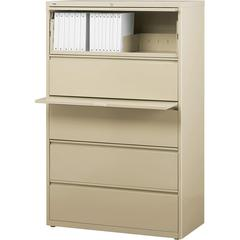 """Lateral File - 36"""" x 18.6"""" x 67.7"""" - 5 x Drawer(s) for File - Legal, Letter, A4 - Lateral - Rust Proof, Leveling Glide, Interlocking, Ball-bearing Suspension, Label Holder - Putty - Baked Ename"""