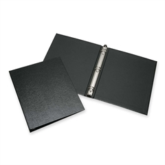 "SKILCRAFT Leather Grain Ring Binder - 1"" Binder Capacity - Letter - 8 1/2"" x 11"" Sheet Size - 3 x Round Ring Fastener(s) - Internal Pocket(s) - Leather - Black - Recycled - 1 Each"