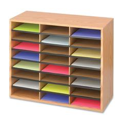 "Safco Laminte Literature Organizer - 24 Compartment(s) - Compartment Size 2.50"" x 9"" x 11.75"" - 23.5"" Height x 29"" Width x 12"" Depth - Floor - Medium Oak - Particleboard - 1Each"