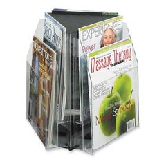 "Safco Reveal 2-tier Tabletop Magazine Display - 6 Pocket(s) - 6 Compartment(s) - Compartment Size 7.25"" x 9"" x 1"" - 14"" Height x 15"" Width x 15"" Depth - Desktop - Clear - Acrylic - 1Each"