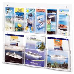 "Safco Nine Compartment Magazine/Pamphlet Display - 9 Compartment(s) - Compartment Size 7"" x 2"" x 9.12"" - 23.5"" Height x 28"" Width x 3"" Depth - Wall Mountable - Clear - Polycarbonate, Polyethylene - 1E"