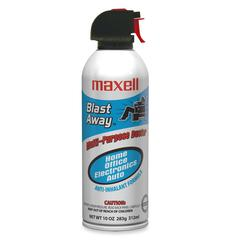 Maxell Blast Away Canned Air (Single Can) - For Multipurpose - 10 fl oz - Non-flammable - 1 Each - Blue, White