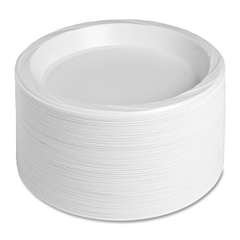 "Genuine Joe Reusable/Disposable Plate - 10.25"" Diameter Plate - Plastic Plate - White - 125 Piece(s) / Pack"
