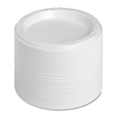 "Genuine Joe Reusable Plastic White Plates - 6"" Diameter Plate - Plastic - White - 125 Piece(s) / Pack"