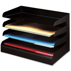 Buddy Horizontal Desktop Organizers - 4 Tier(s) - Desktop - Black - Steel - 1Each