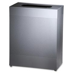 "Open Top Waste Receptacle - 22.50 gal Capacity - Rectangular - 30"" Height x 12.5"" Width x 24"" Depth - Steel - Silver"