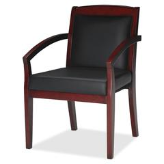 "Mayline Mercado Veneer Guest Chair - Leather Black, Wood Seat - Hardwood Cherry Frame - 22.5"" Width x 23.5"" Depth x 33.5"" Height"