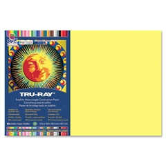 "Tru-Ray Construction Paper - 18"" x 12"" - 76 lb Basis Weight - 1 / Pack - Light Yellow - Sulphite"