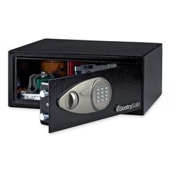 "Security Safe - 0.70 ft³ - Electronic Lock - 2 Live-locking Bolt(s) - Internal Size 6.94"" x 16.75"" x 12.63"" - Overall Size 7.1"" x 16.9"" x 14.6"" - Black - Steel"