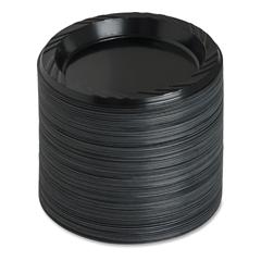 "Genuine Joe Round Plastic Black Plates - 6"" Diameter Plate - Plastic - Black - 125 Piece(s) / Pack"