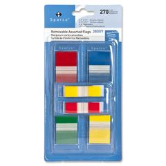 "Sparco Removable Flag Combo Pack - 1"", 0.50"" - Rectangle - Assorted - Self-adhesive - 270 / Pack"