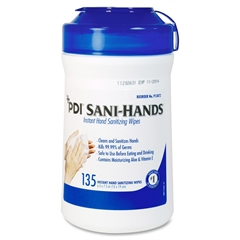 "Sani-Hands ALC Sanio-Dex ALC Wipes - 6"" x 7.50"" - White - Anti-septic, Anti-bacterial, Non-irritating - For Healthcare - 135 Sheets - 135 / Each"