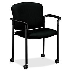 "HON 4070 Series Mobile Guest Chair - Acrylic Black, Polyester Seat - Steel Black Frame - Black - 20.25"" Seat Width x 19.75"" Seat Depth - 27.3"" Width x 22.5"" Depth x 33"" Height"