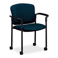 "HON 4070 Series Mobile Guest Chair - Acrylic Mariner, Polyester Seat - Steel Black Frame - Mariner - 20.25"" Seat Width x 19.75"" Seat Depth - 27.3"" Width x 22.5"" Depth x 33"" Height"