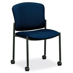 """HON 4070 Series Mobile Armless Guest Chair - Acrylic Mariner, Polyester Seat - Fabric Back - Steel Black Frame - 20.25"""" Seat Width x 19.75"""" Seat Depth - 21.3"""" Width x 22.5"""" Depth x 33"""" Height"""