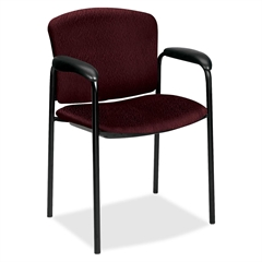 """HON Tiempo 4600 Series Guest Chair - Foam Wine, Urethane Seat - Plywood Back - Steel Black Frame - 24.8"""" x 22.5"""" x 33"""" Overall Dimension"""