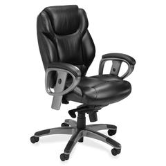 "Mayline Ultimo 300 Series UL330M Mid Back Chair - Leather Black Seat - Slate Frame - 5-star Base - 20.75"" Seat Width x 18"" Seat Depth - 26.5"" Width x 24.5"" Depth x 41.5"" Height"