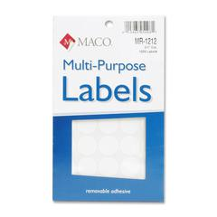 "MACO White Multi-Purpose Labels - Removable Adhesive - 0.75"" Diameter - Circle - White - 1000 / Pack"