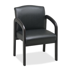 """Lorell Deluxe Faux Guest Chair - Leather Black Seat - Wood Espresso Frame - 23"""" Width x 25.5"""" Depth x 33.5"""" Height"""