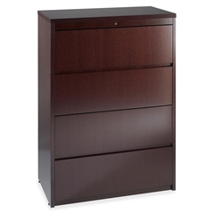 "Lorell Four Drawer Lateral File - 36"" x 24"" x 59.3"" - 4 - Fluted Edge - Material: Hardwood - Finish: Mahogany, Veneer"