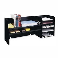 """MMF Desk Organizers with Movable Shelves - 4 Compartment(s) - 3 Divider(s) - 18.4"""" Height x 47.3"""" Width x 9.5"""" Depth - Recycled - Black - Steel - 1Each"""