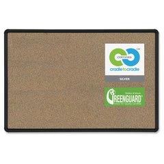 "Balt Eco-friendly Black Splash Cork Board - 36"" Height x 48"" Width - Cork Surface - Self-healing, Durable - Black Anodized Aluminum Frame - 1 / Each"