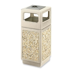 "Canmeleon Waste Receptacle Ash/Urn Side Open - 15 gal Capacity - Square - 32.8"" Height x 13.8"" Width x 13.8"" Depth - Polyethylene - Tan"