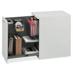 """Flagship Left Side Access Pedestal File Cabinet - 15"""" x 22.9"""" x 28"""" - Security Lock - Light Gray - Recycled"""