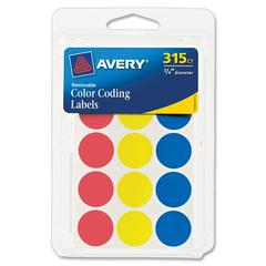 "Color Coding Label - Removable Adhesive - 0.75"" Diameter - Circle - Red, Blue, Yellow - 306 / Pack"