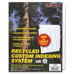 "Kleer-Fax HiTech Custom Indexing System - 8 Tab(s) - 8.50"" Divider Width x 11"" Divider Length - Letter - 3 Hole Punched - White Divider - Clear Tab(s) - 5 / Pack"