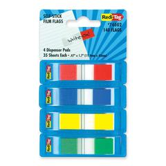 "Redi-Tag Pop-Up Page Flag Dispenser - 35 x Red, 35 x Blue, 35 x Yellow, 35 x Green - 0.50"" x 1.70"" - Rectangle - Assorted - Removable - 140 / Pack"