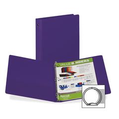 "Samsill 3-Ring Vinyl Storage Binders - 1"" Binder Capacity - Letter - 8 1/2"" x 11"" Sheet Size - 200 Sheet Capacity - 3 x Round Ring Fastener(s) - 2 Internal Pocket(s) - Vinyl - Purple - Recycled - 1 Ea"