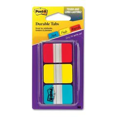 """Post-it® Durable Tabs, 1"""" x 1.5"""", Red/Yellow/Blue - 36 Write-on Tab(s) - 1.50"""" Tab Height x 1"""" Tab Width - Red, Blue, Yellow Tab(s) - 1 Pack"""