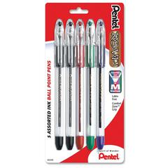 Pentel R.S.V.P Ballpoint Stick Pen - Medium Point Type - 1 mm Point Size - Refillable - Assorted - Clear Barrel - 5 / Pack