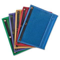 "Oxford Zipper Binder Pocket - 7.50"" x 10.50"" Sheet - Ring Binder - Assorted - Vinyl - 1 Each"