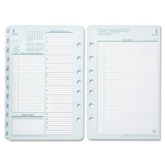 "Franklin Covey Monarch Planner Refill - Daily - 1 Year - January 2017 till December 2017 - 8.50"" x 11"" - Green, White - Tabbed"